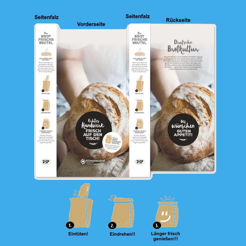 Brotfrisch Faltenbeutel 20+7x42cm Kraft klimaneutral 500St
