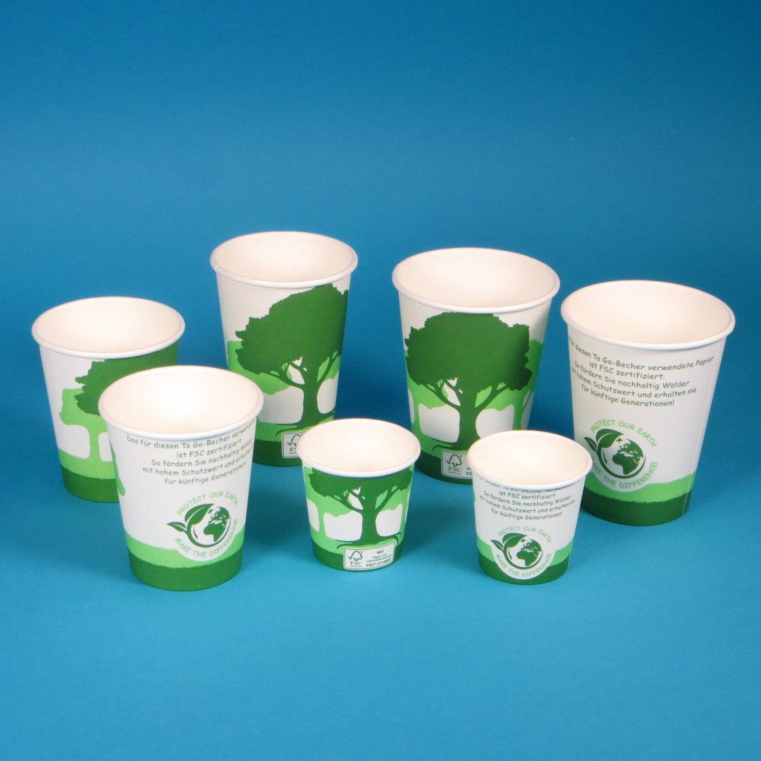 """Coffee to go Becher FSC """"Green Nature"""" 1000St. versch. Größen"""