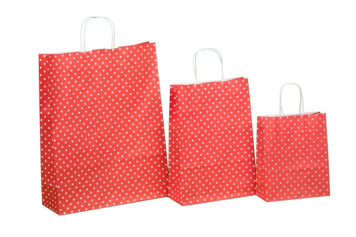 Kordel Papiertragetaschen rot m. Punkten 80g versch. Größen