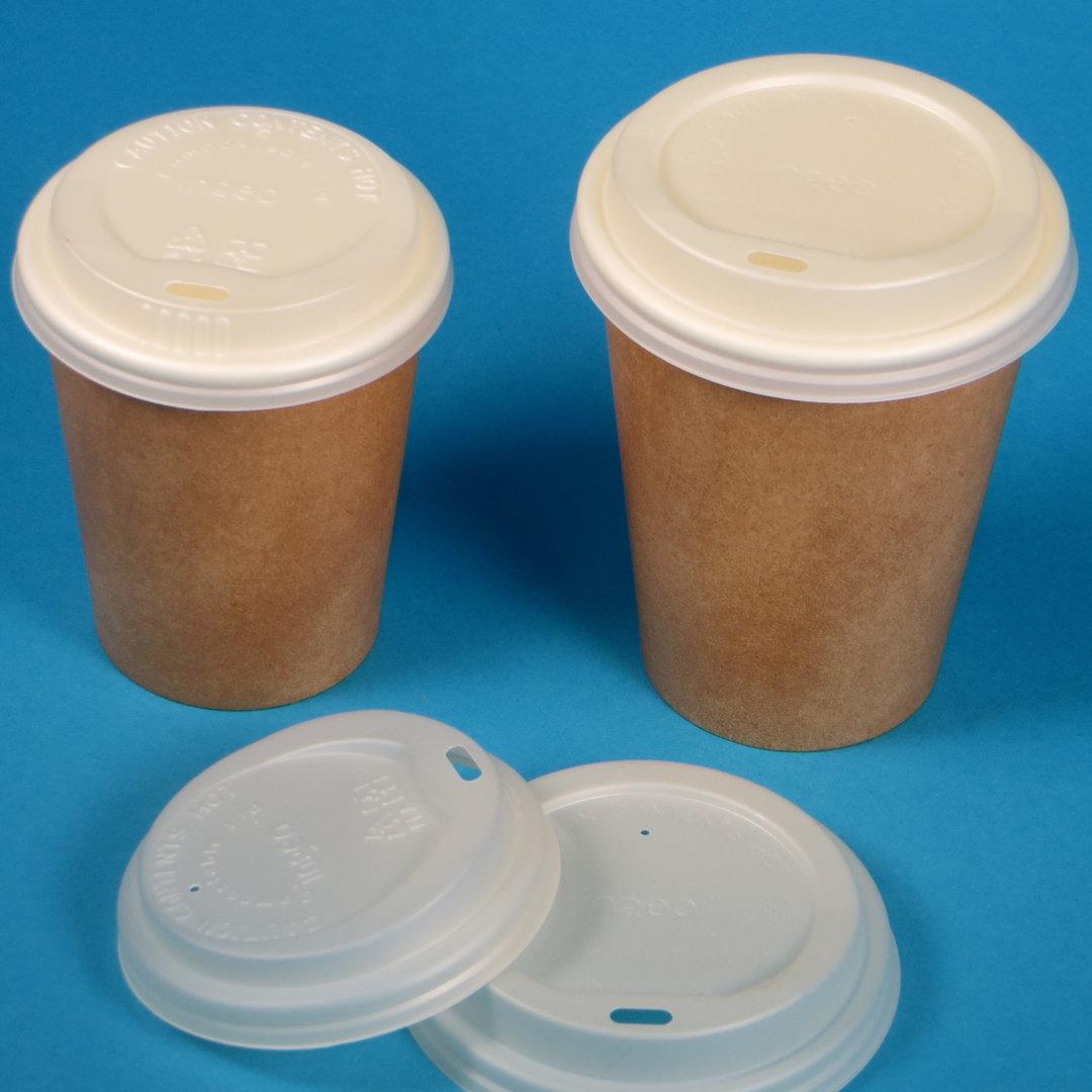 Bio Deckel für Coffee to go Becher CPLA weiß versch. Größen