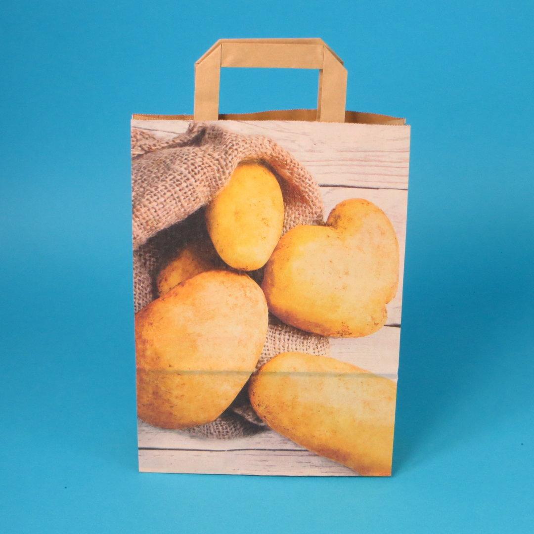 Papiertragetaschen Kartoffeln Blanko Kraft 250St versch. Größen