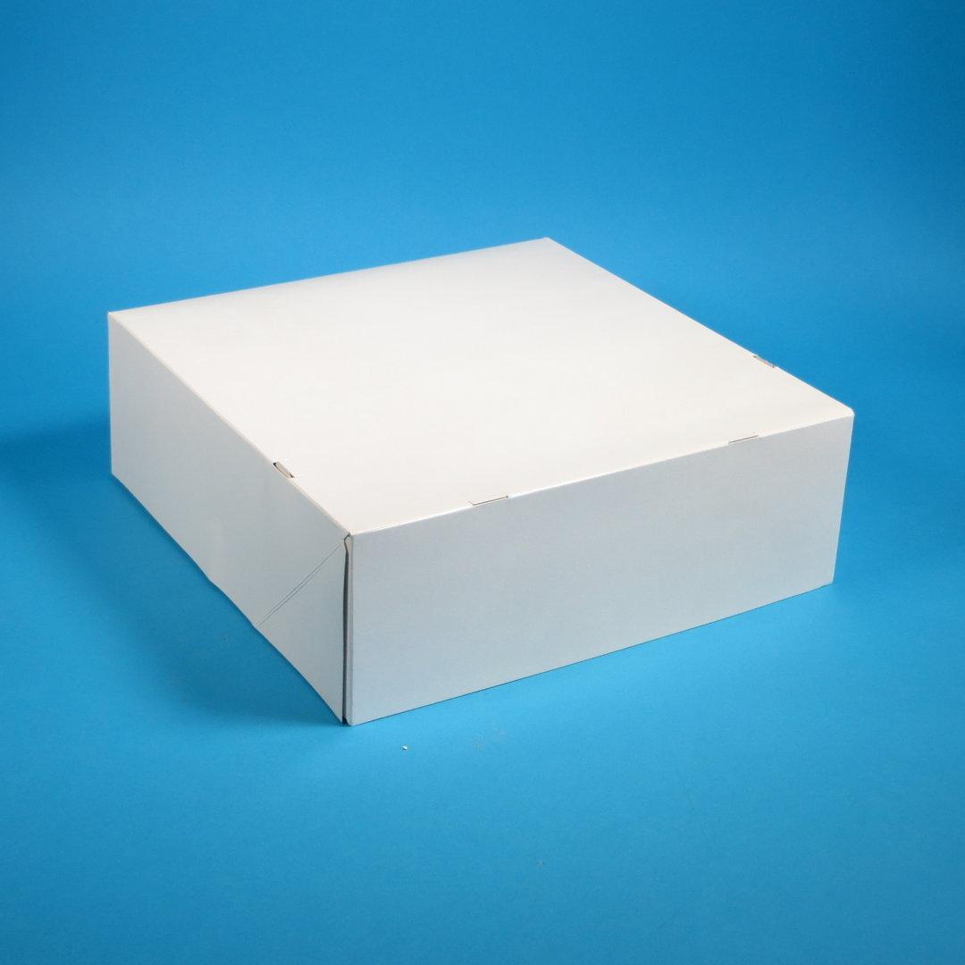 Tortenkarton 1-teilig mit anh. Deckel weiß 34x34x11cm 50St