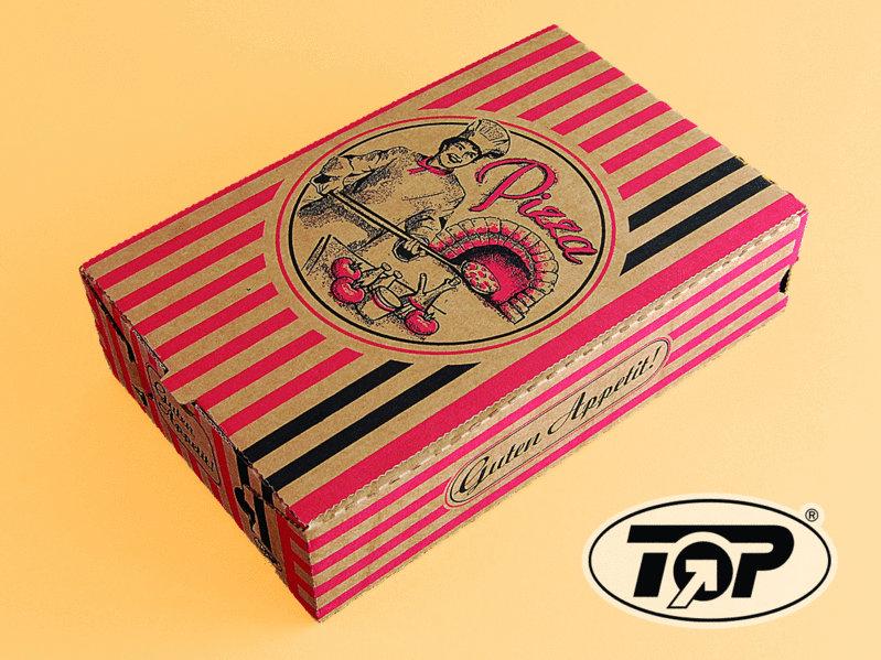 Calzone Pizzakarton mit Neutralmotiv braun Kraft 27x16x7cm 200St