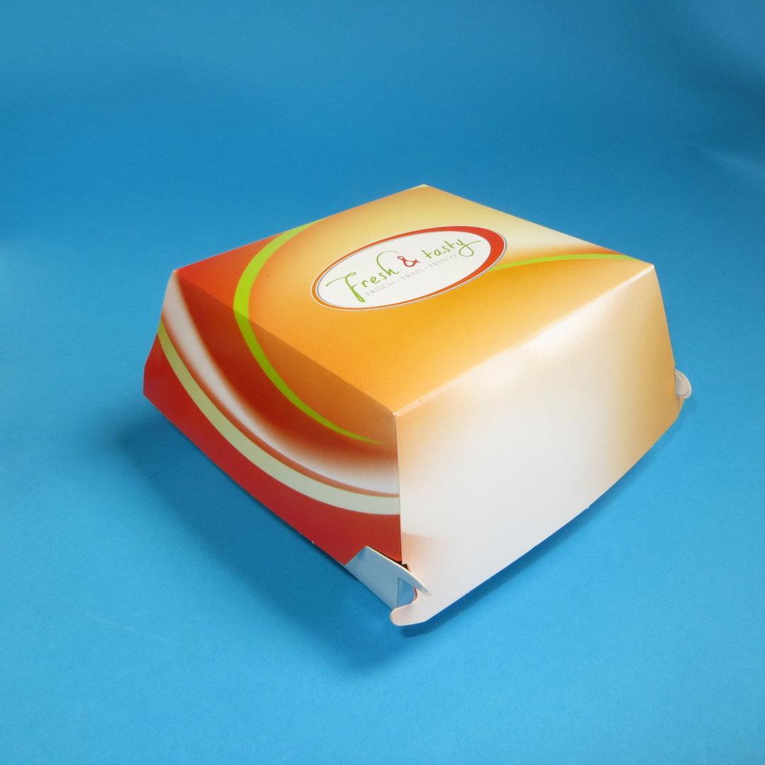 "Hamburgerbox Pappe Hartpapier groß ""Fresh & Tasty"" 400St"
