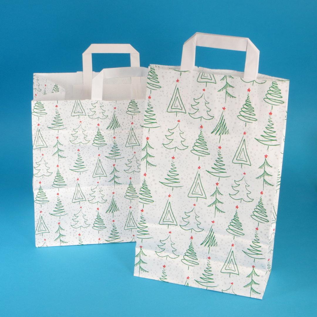 """Papiertragetasche """"Weihnacht"""" weiß grün rot versch. Größen 250St"""