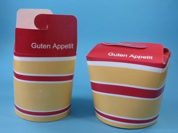"""Snackbox Nudelbox """"Guten Appetit"""" gelb rot 500St. versch. Größen"""