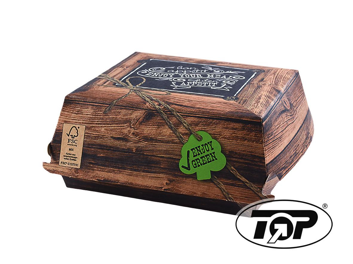 """Bio Hamburgerbox """"Enjoy Green"""" FSC XL 150x150x70mm 600St"""