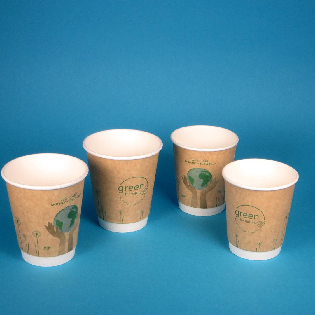 """Bio Doppelwand Coffee to go Becher """"Green"""" versch. Größen"""