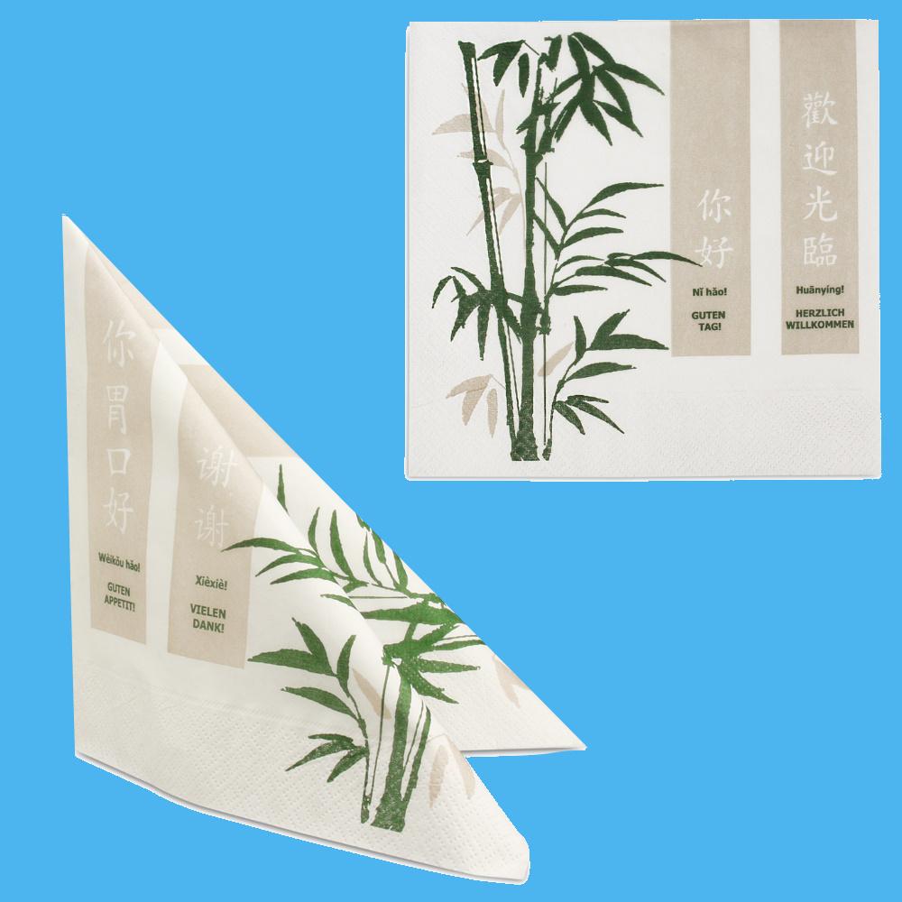 """Tissue Servietten """"Asia"""" 40x40cm 3lg 1/4Fa 1600St"""