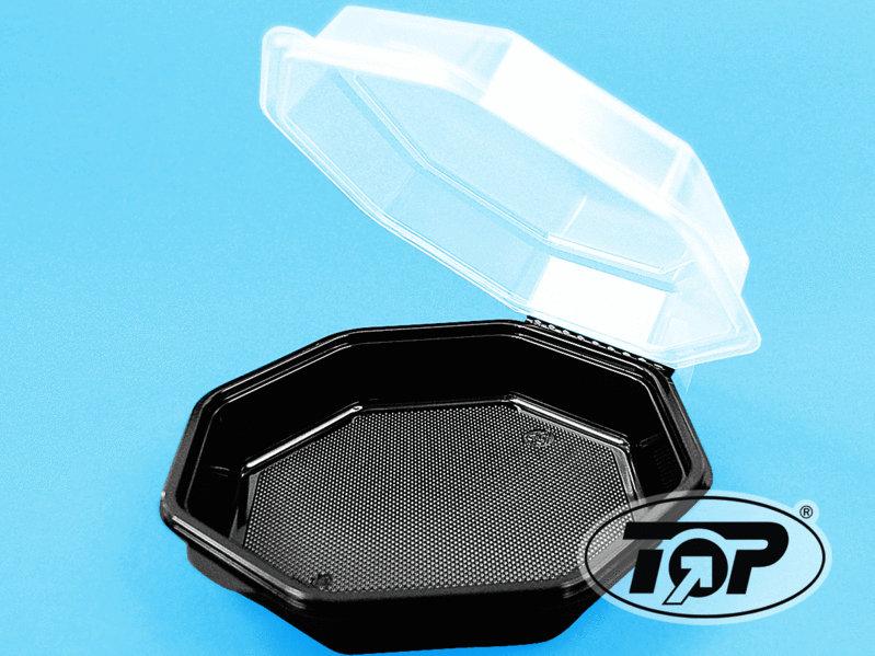 Salat Klappbox 8-eckig schwarz m. transp. Deckel 1800ml 75St