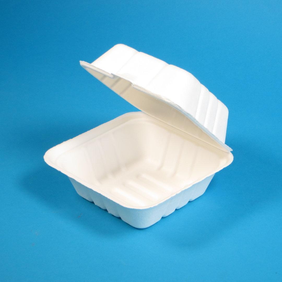 Bio Hamburgerbox Zuckerrohr/Bagasse 154x147x82mm weiß 400St