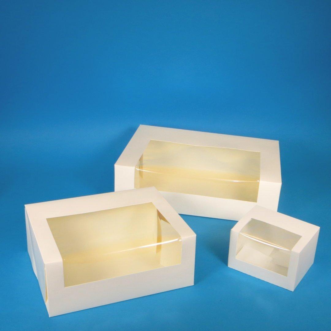 Cakeboxen weiß Frischfaser mit Sichtfenster versch. Größen