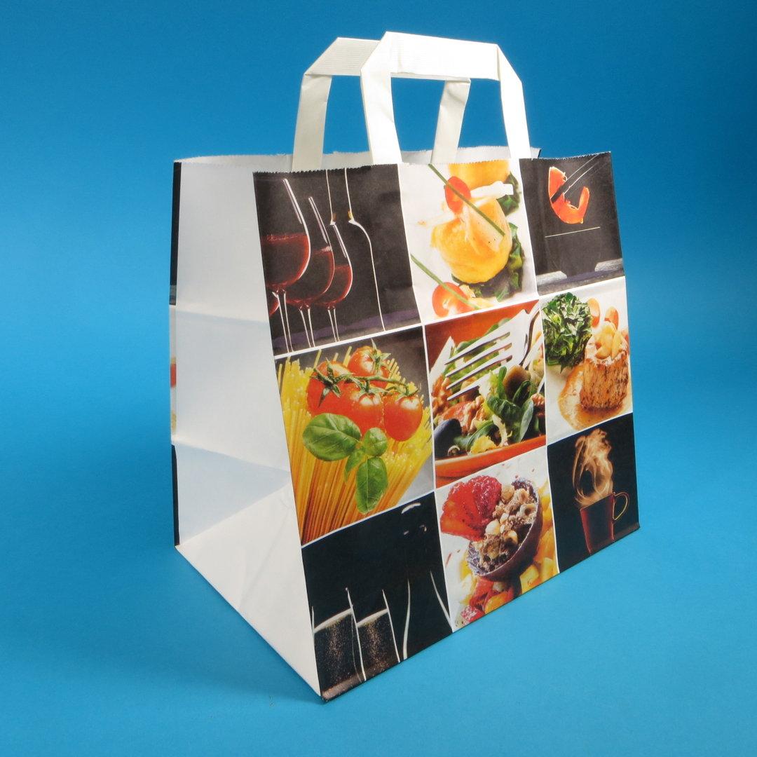 """Papiertragetasche """"Fine Food"""" 26+17x25cm 250St"""