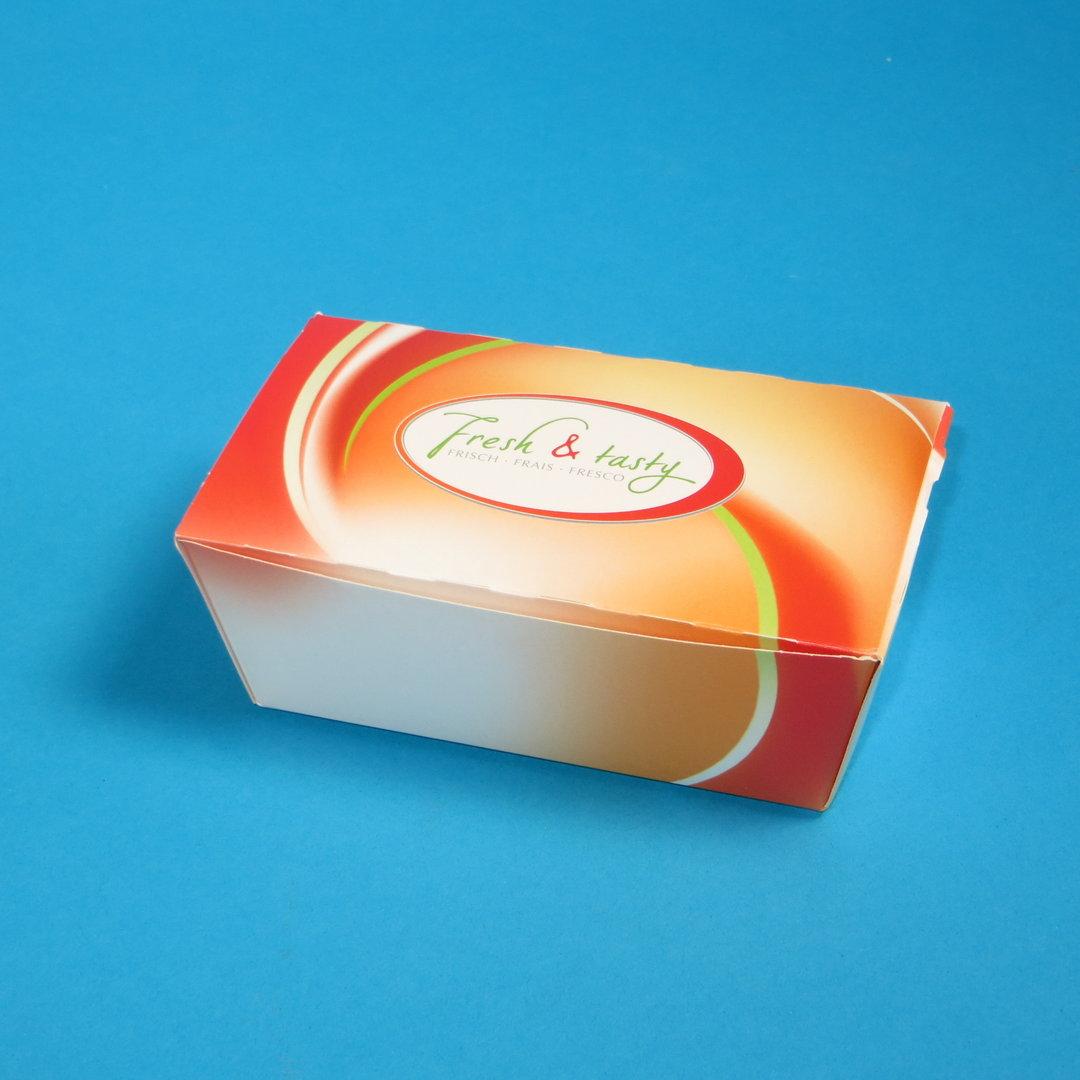 "Snack Faltbox klein 124x65x50mm ""Fresh & Tasty"" 500St"