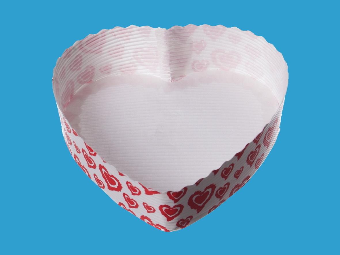 Herz Einwegbackformen Papier weiß 13x3,5cm 300St