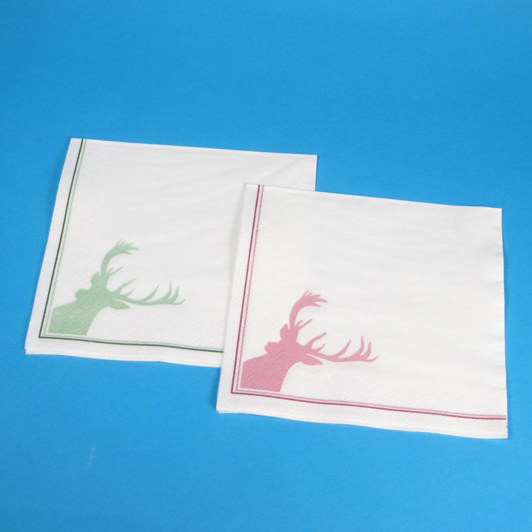 Tissue Servietten Hirsch rot+grün 33x33cm 3-lg 1/4 2x500St