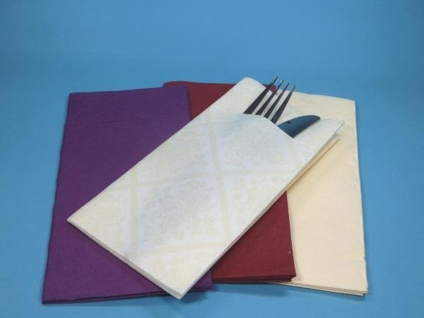 Pocket Napkins Airlaid 40x40cm 1/8 600St versch. Farben
