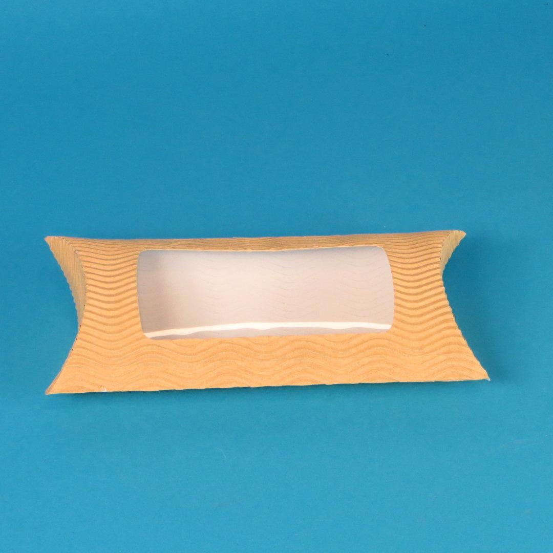 Wrap Box mit Sichtfenster braun geriffelt 183x114x44mm 250St