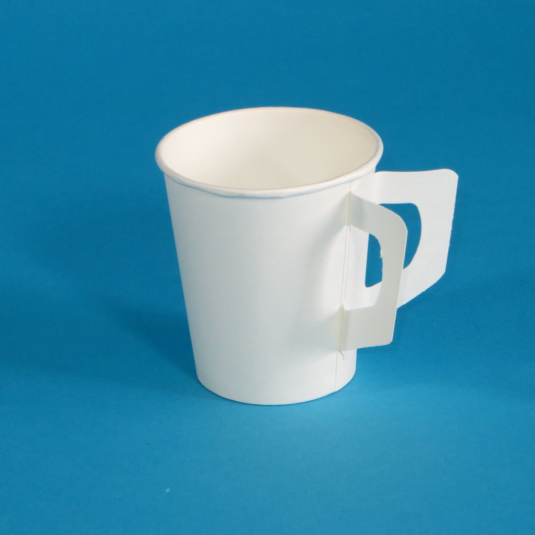 Kaffeebecher Hartpapier mit Henkel weiß Ø73mm 180ml 2000St