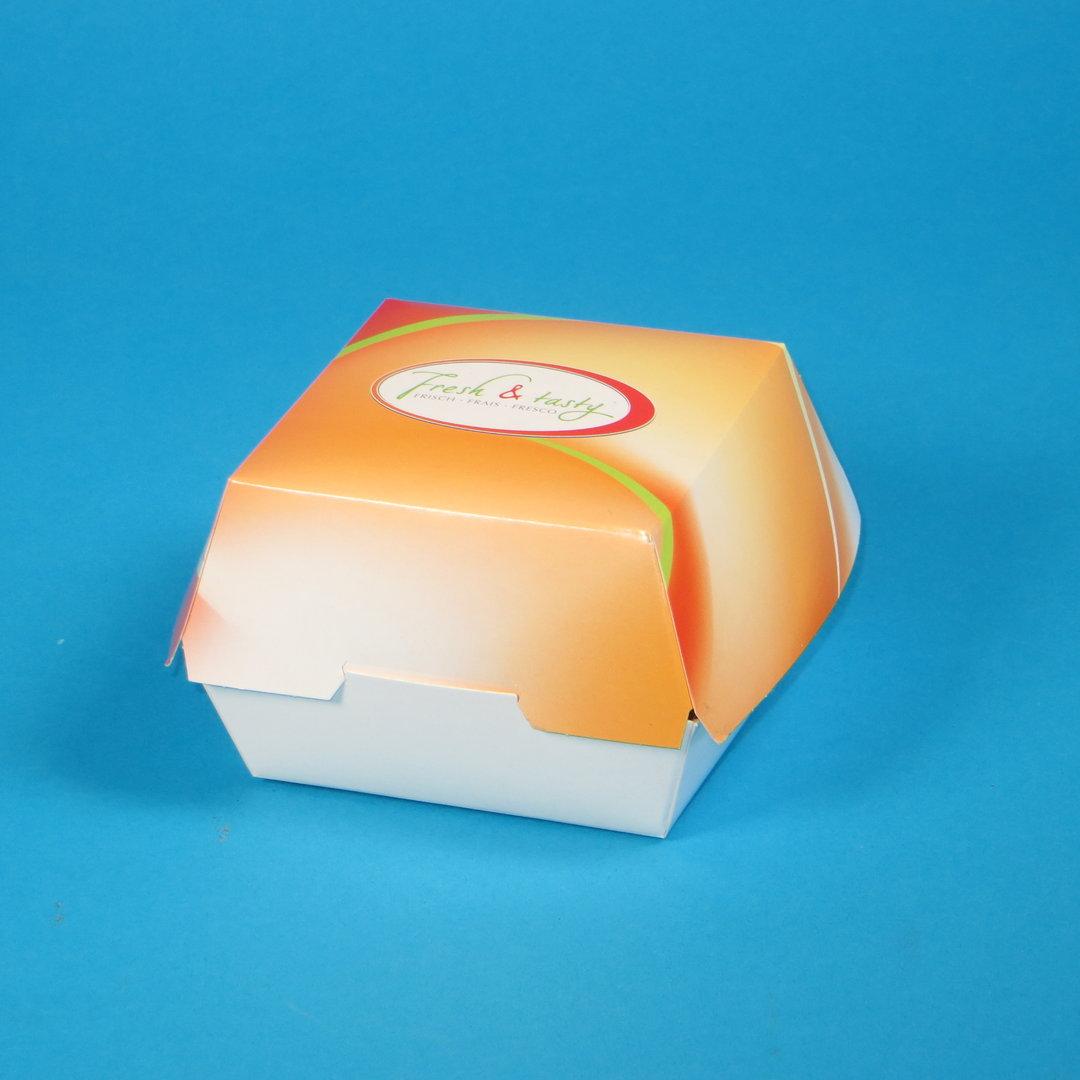 """Hamburgerbox aus Hartpapier klein """"Fresh & Tasty"""" 500St"""