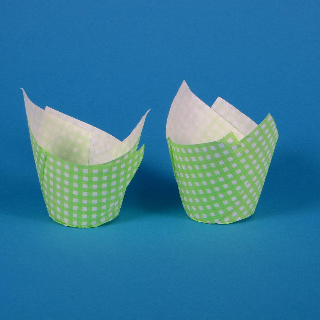 "Muffin Tulip Cup ""Vichy Limone"" 5cm Boden 9cm hoch 1000St"