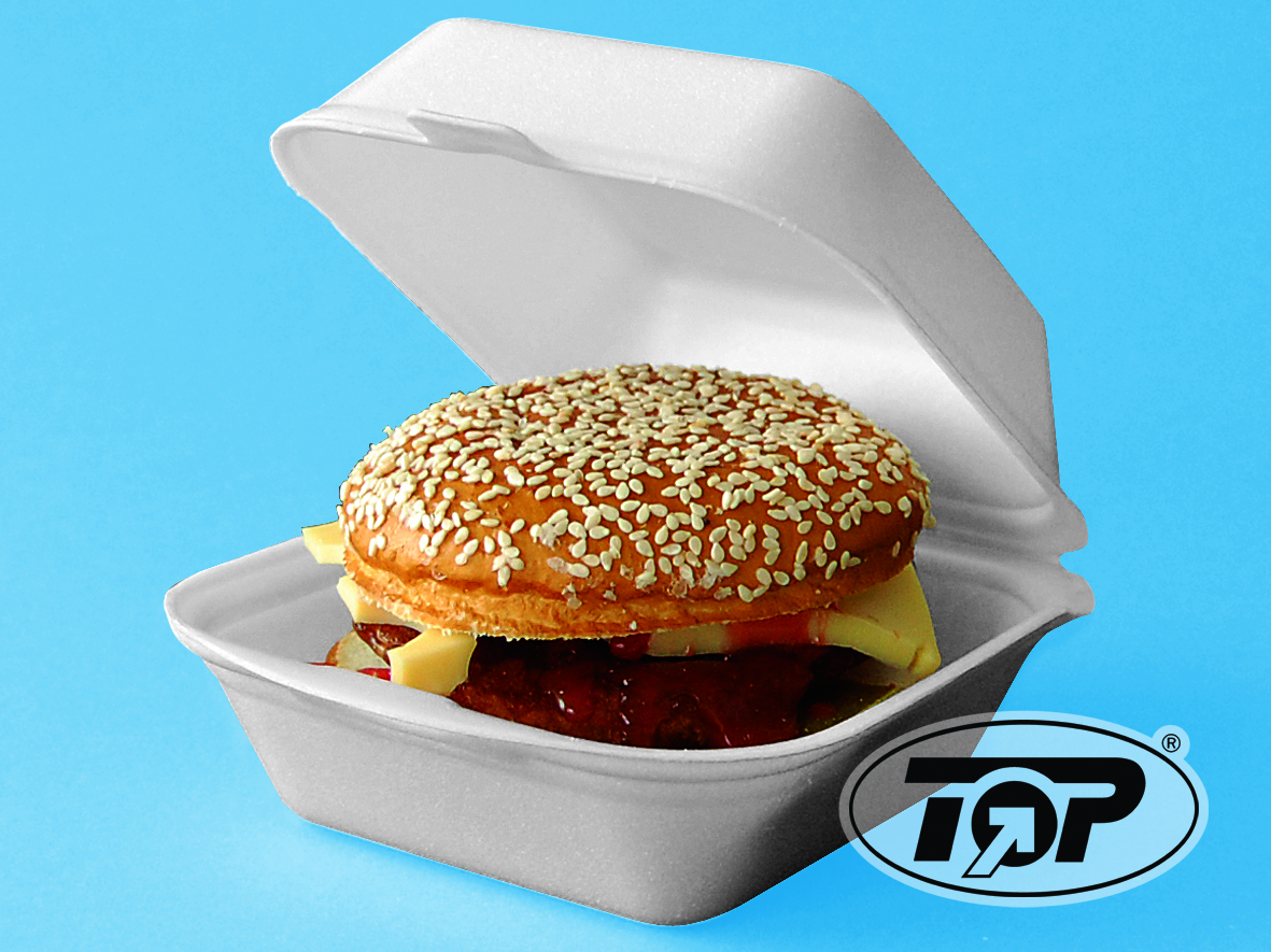 Hamburgerbox HP6 geschäumt weiß groß 140x140x70mm 500St.