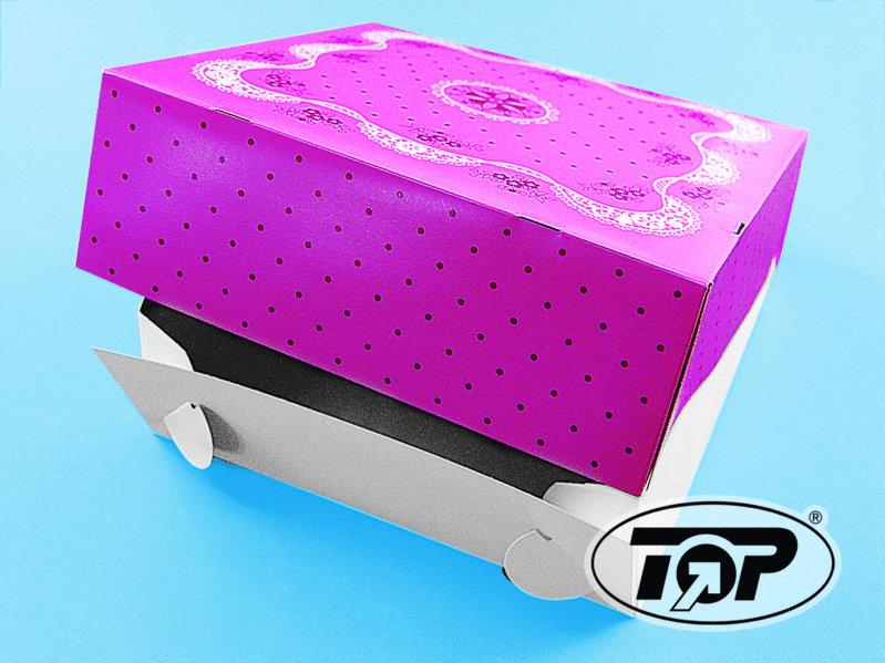 Tortenkarton mit Deckel pink 32x32x11cm 50St.