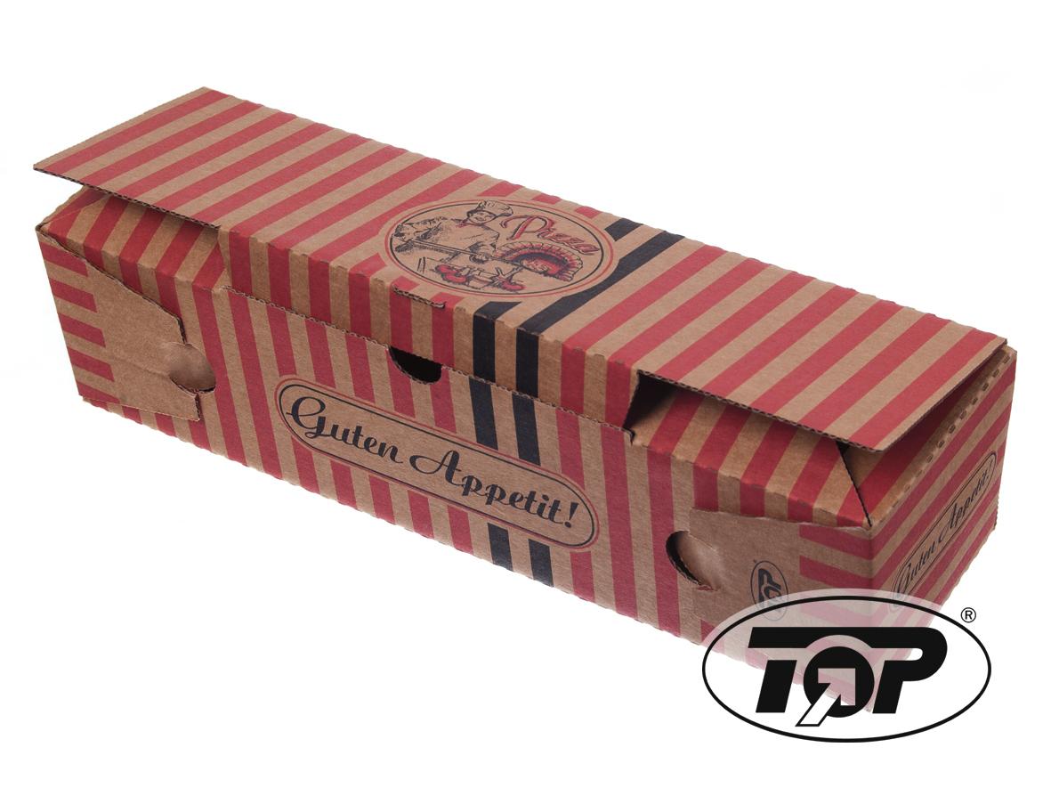 Pizza Rollo Box braun mit Neutraldruck 7x8x28xm 200St.
