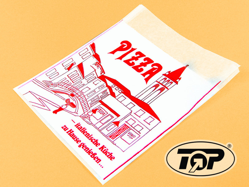 Pizzatasche Pergamin 30x30cm mit Neutraldruck 500St.