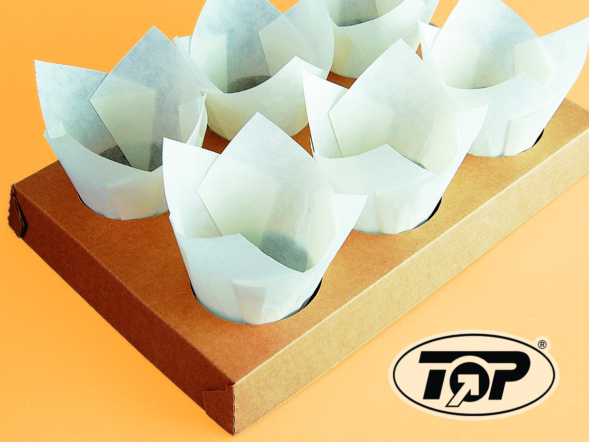 Muffin Back Tray Pappe für 6 Tulip Cups 100St