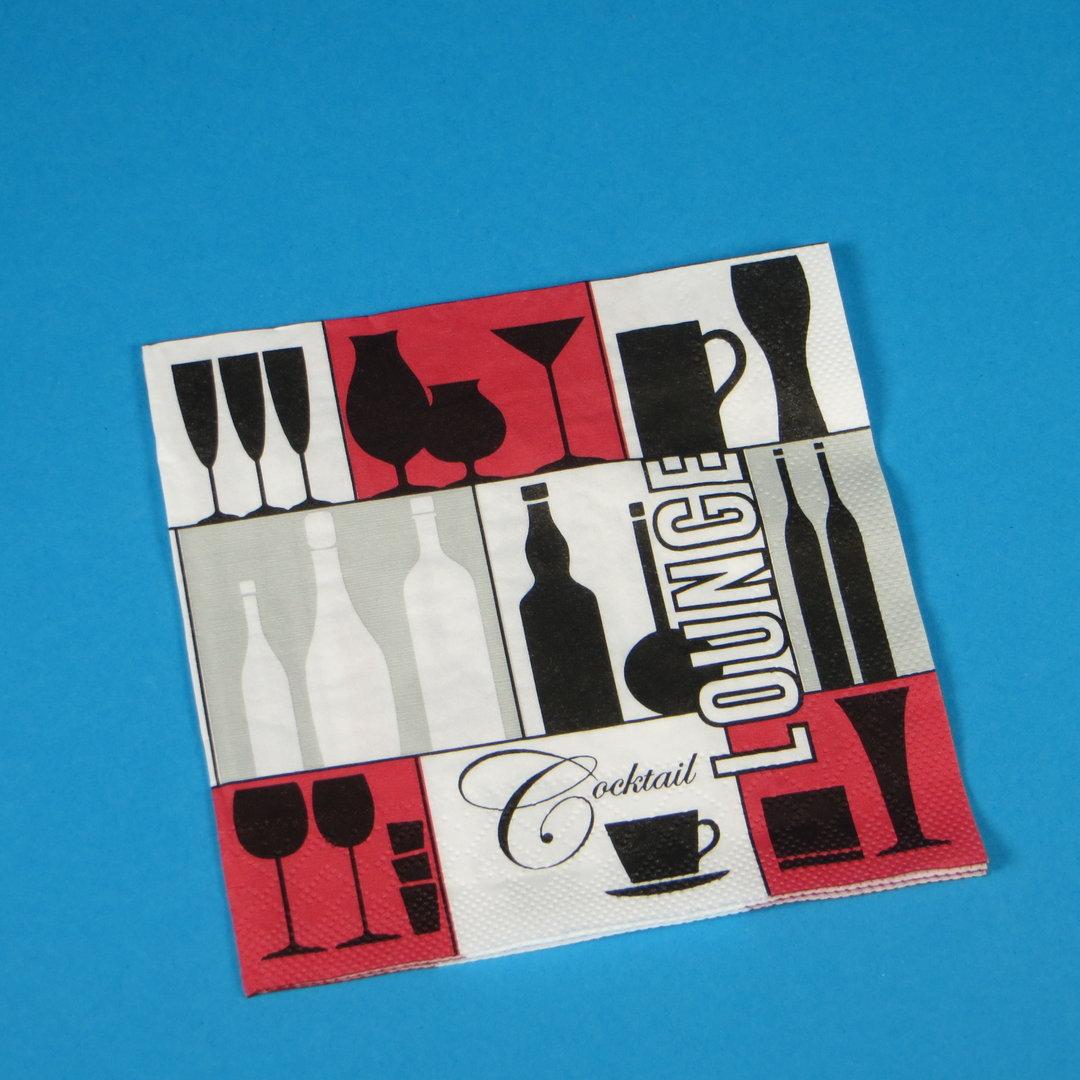 """Cocktailservietten """"Cocktail Lounge"""" 25x25cm 3lg 1/4 1000St"""