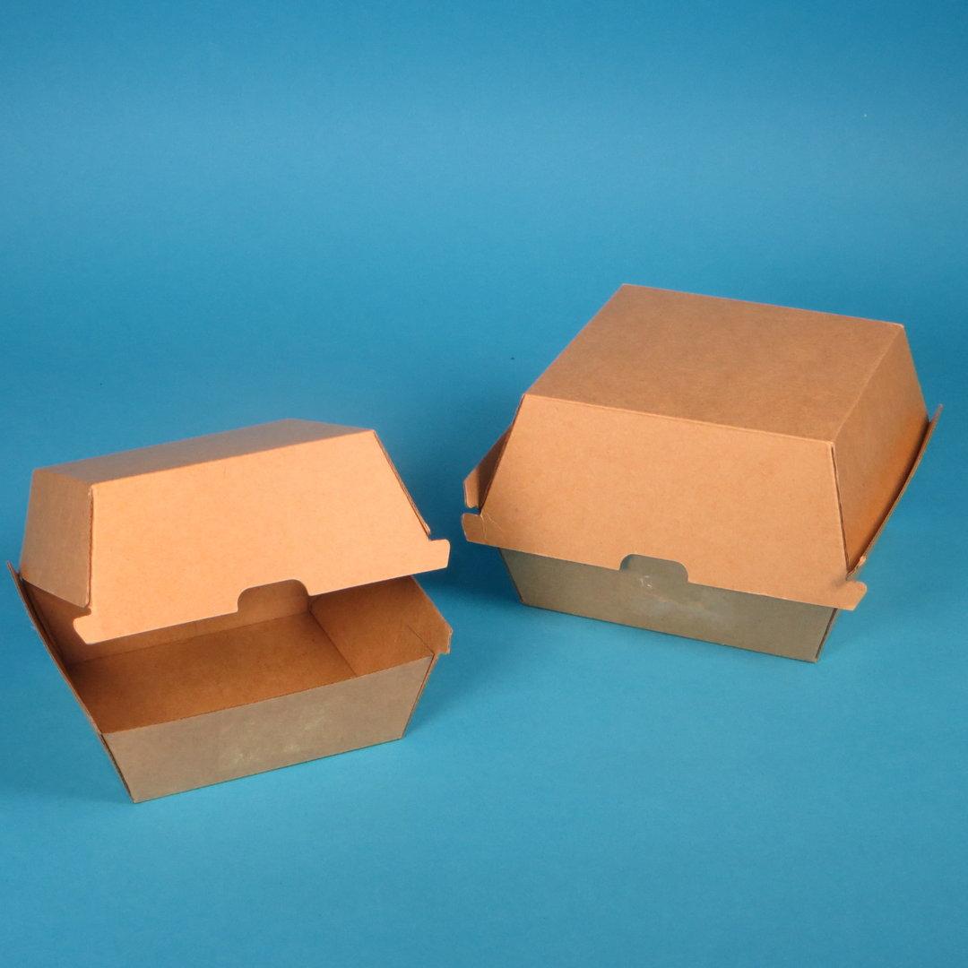Bio Hamburgerbox braun Kraft extrastark 130x140x80mm 300St