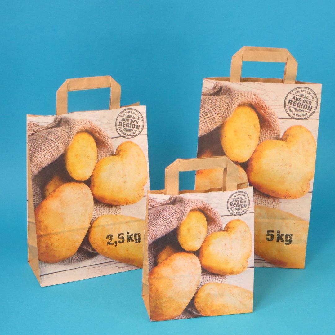 """Papiertragetaschen """"Kartoffeln"""" 90g nassfest 250St versch. Größen"""