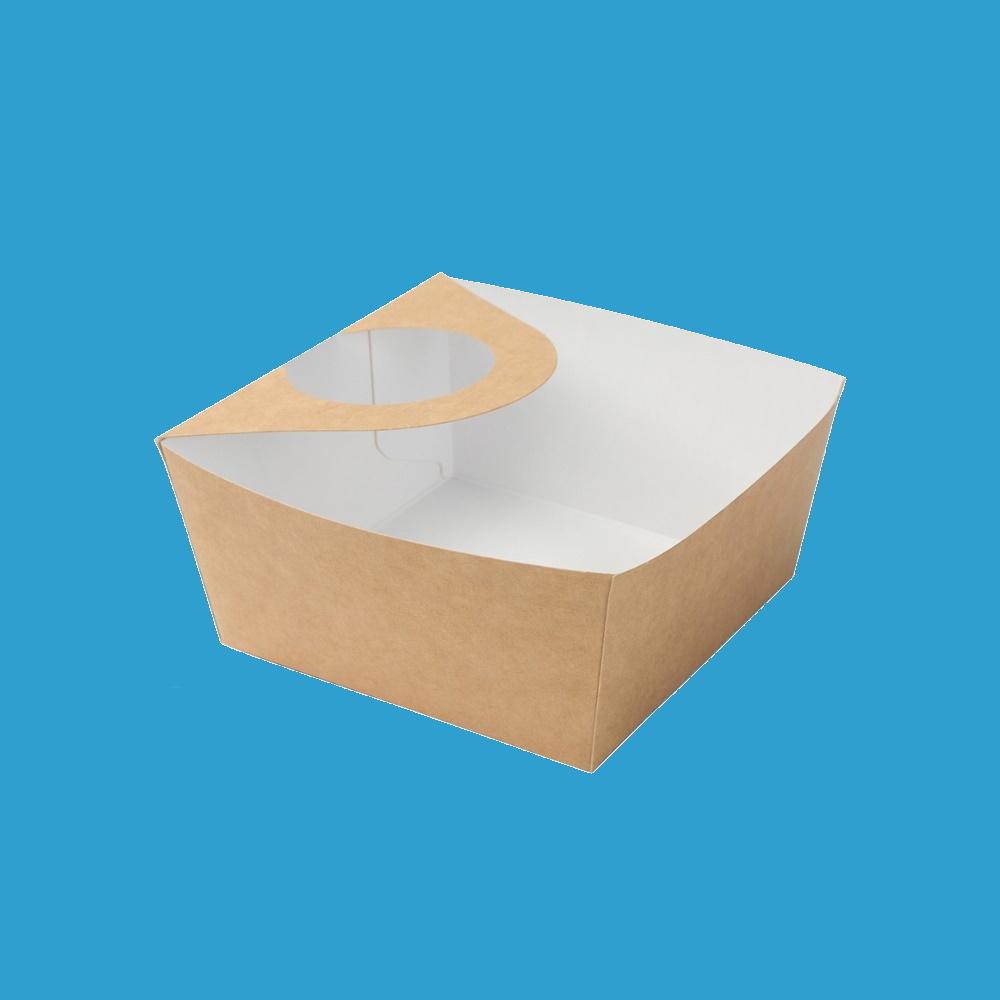 Bio Snackschalen mit Diphalter 13,4x12,8x5,5cm 600ml 500St