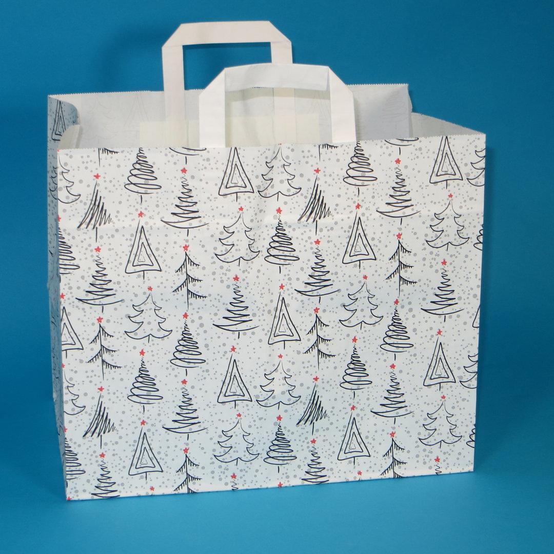 """Papiertragetasche """"Weihnacht"""" weiß grau rot 32+22x27cm 250St"""