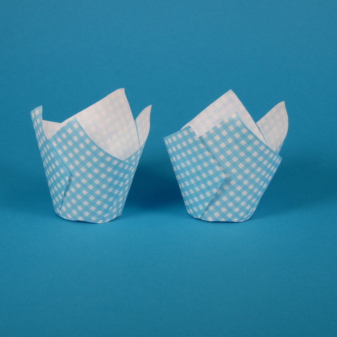"Muffin Tulip Cup ""Vichy Hellblau"" 5cm Boden 9cm hoch 1000St"