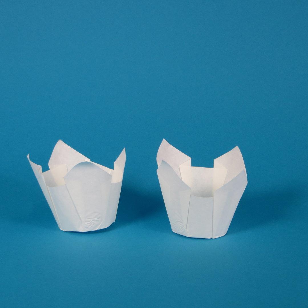 Muffin Tulip Cup Gebäckkapsel weiß 5cm 1000St.