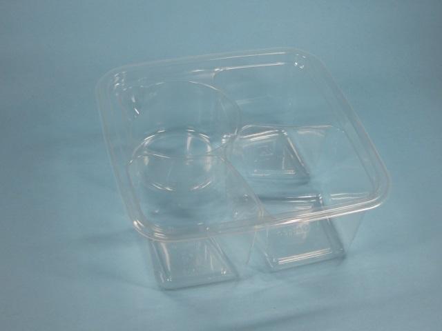 PLA Snackschale 3-geteilt + Dip klar 157x157x66mm 300St
