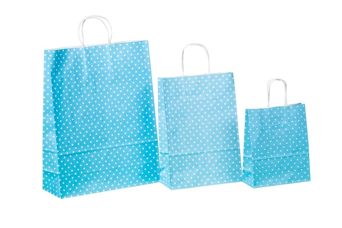 Kordel Papiertragetaschen blau m. Punkten 80g versch Größen