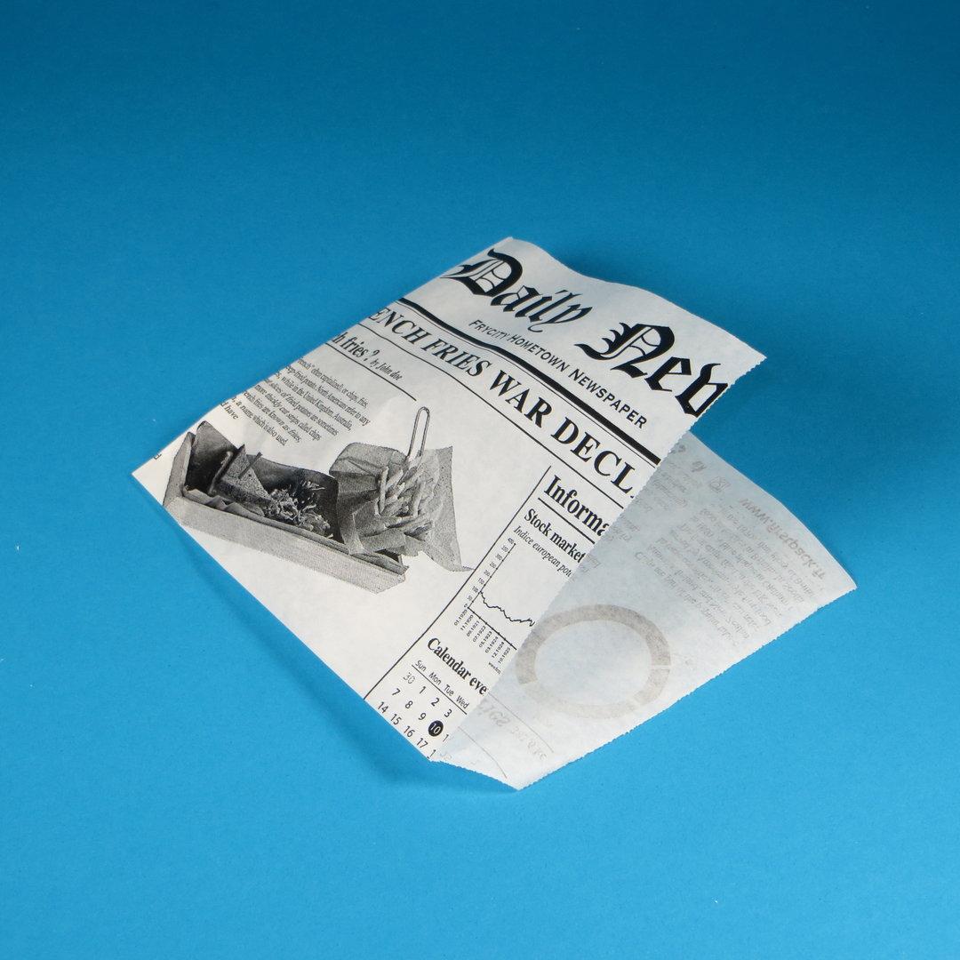 Snacktasche Zeitungsmotiv 13x13cm fettdicht 1000St