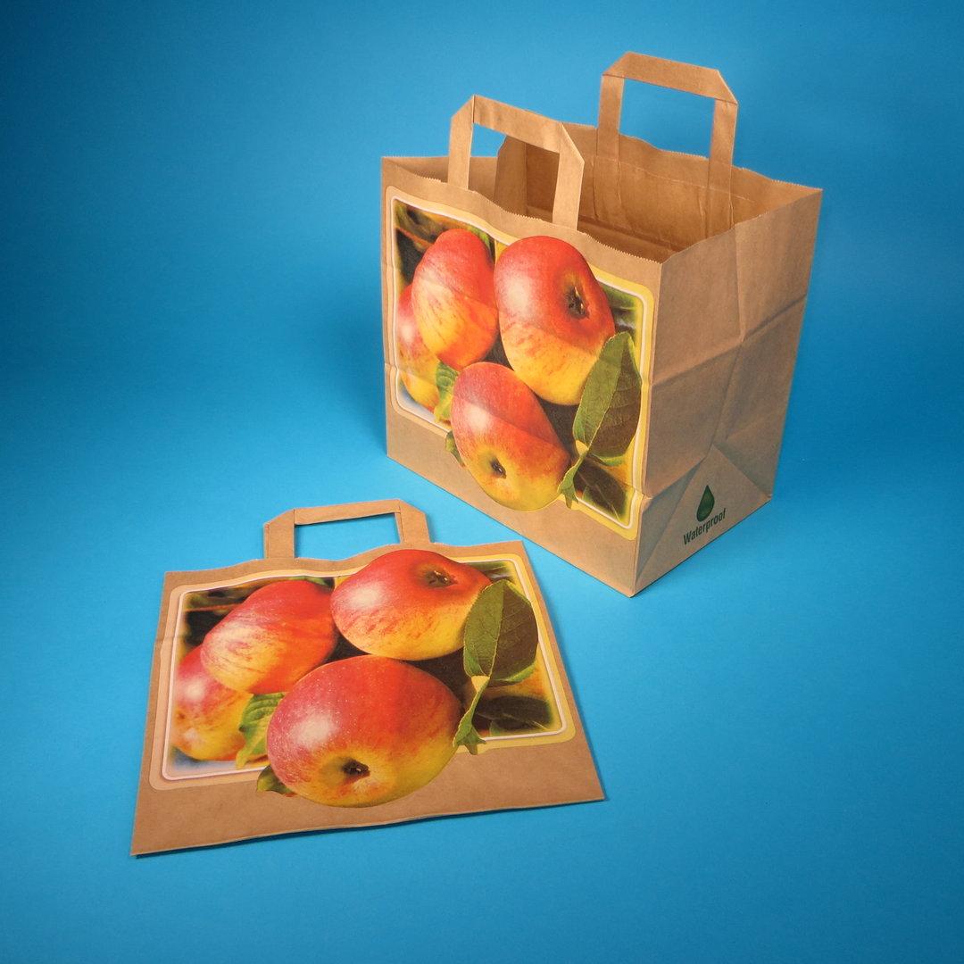 """Papiertragetasche """"Apfel"""" braun nassfest 26+17x25cm 250St"""