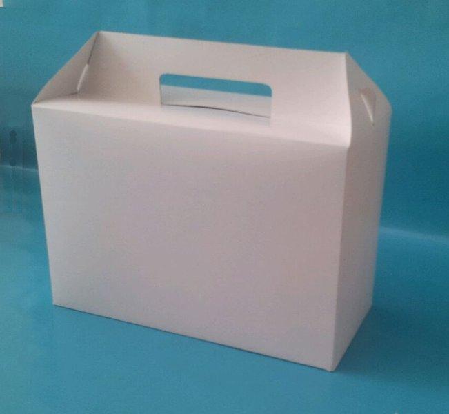 Snack Lunchbox weiß groß mit Griff Hartpapier 125St