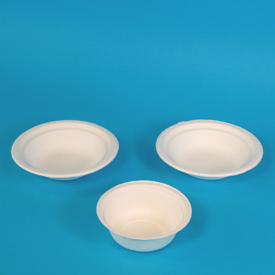 Bio Bagasse Schalen rund weiß holzfrei verschiedene Größen