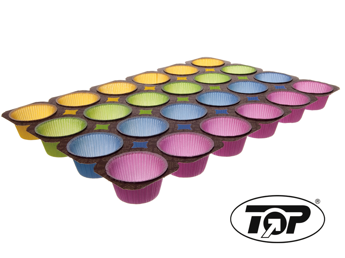 Muffin Back Tray 4-farbig für 24 Muffins 2oz 75g 125St