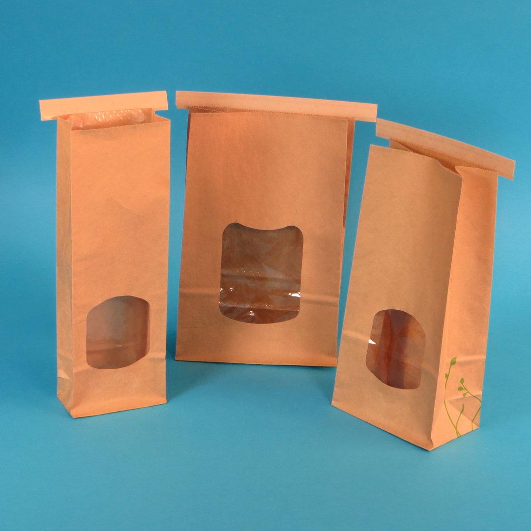 Bio Blockbodenbeutel mit Sichtfenster & Falzband versch. Größen