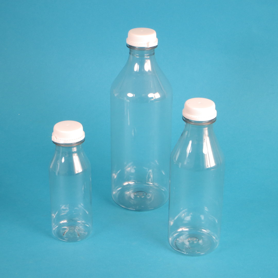 Saftflaschen rPET transparent mit Deckel versch. Größen