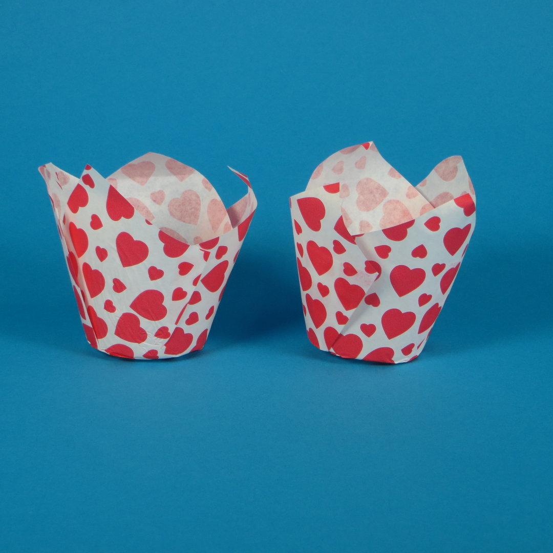"""Muffin Tulip Cup """"Herzen"""" 5cm Boden 9cm hoch 1000St"""