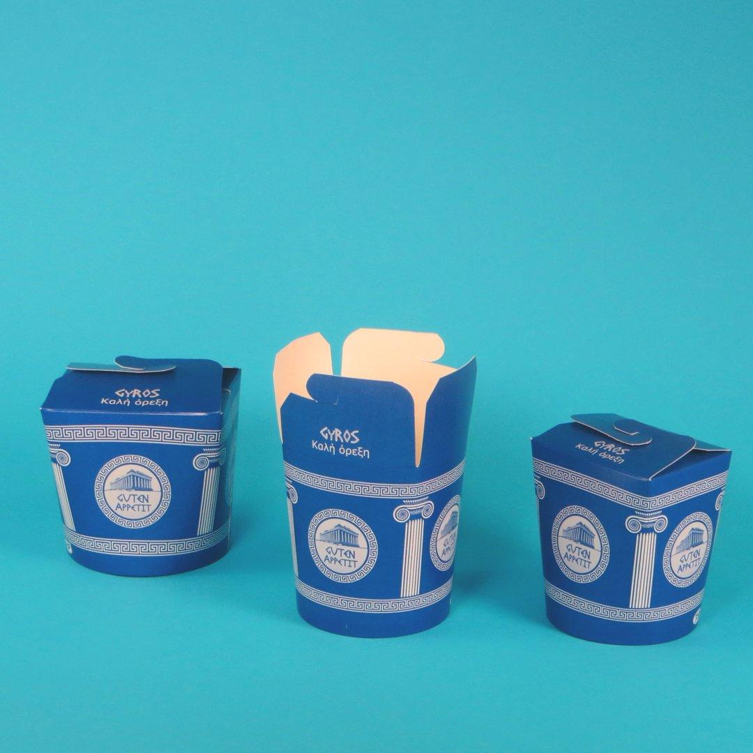 Gyrosbox Neutralmotiv blau 500St versch. Größen