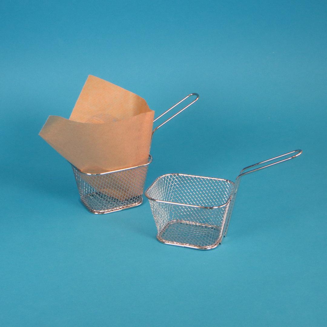 Mini Frittierkörbchen 10,4x6,8x6,1cm verchromt 10 Stück