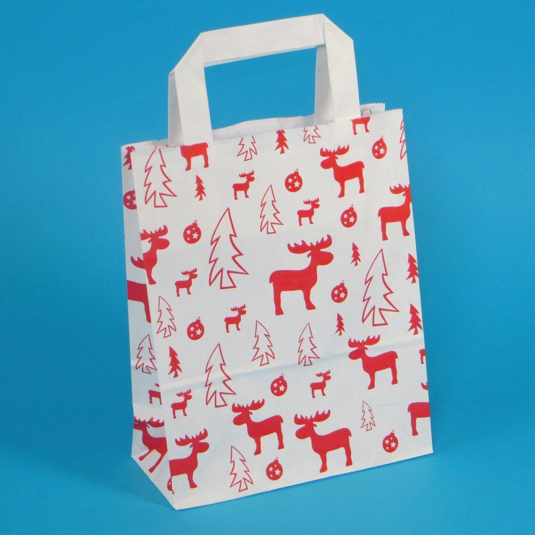 Papiertragetaschen weiß Elch rot Weihnachten 250St versch. Größen